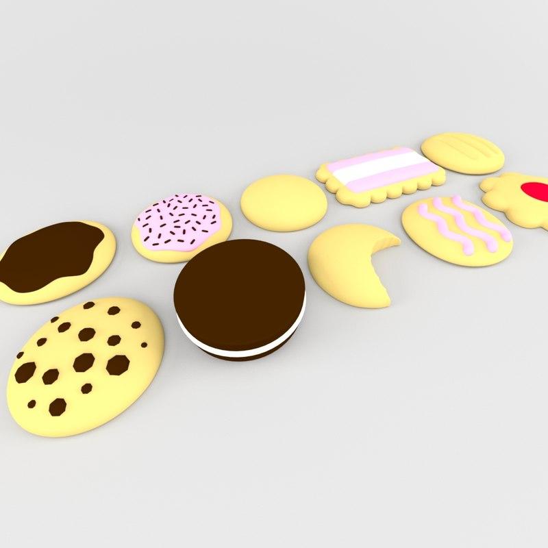 biscuit cookie 3D model
