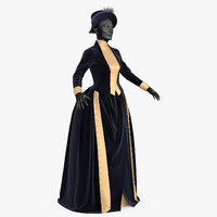 dress lady 19th century 3D