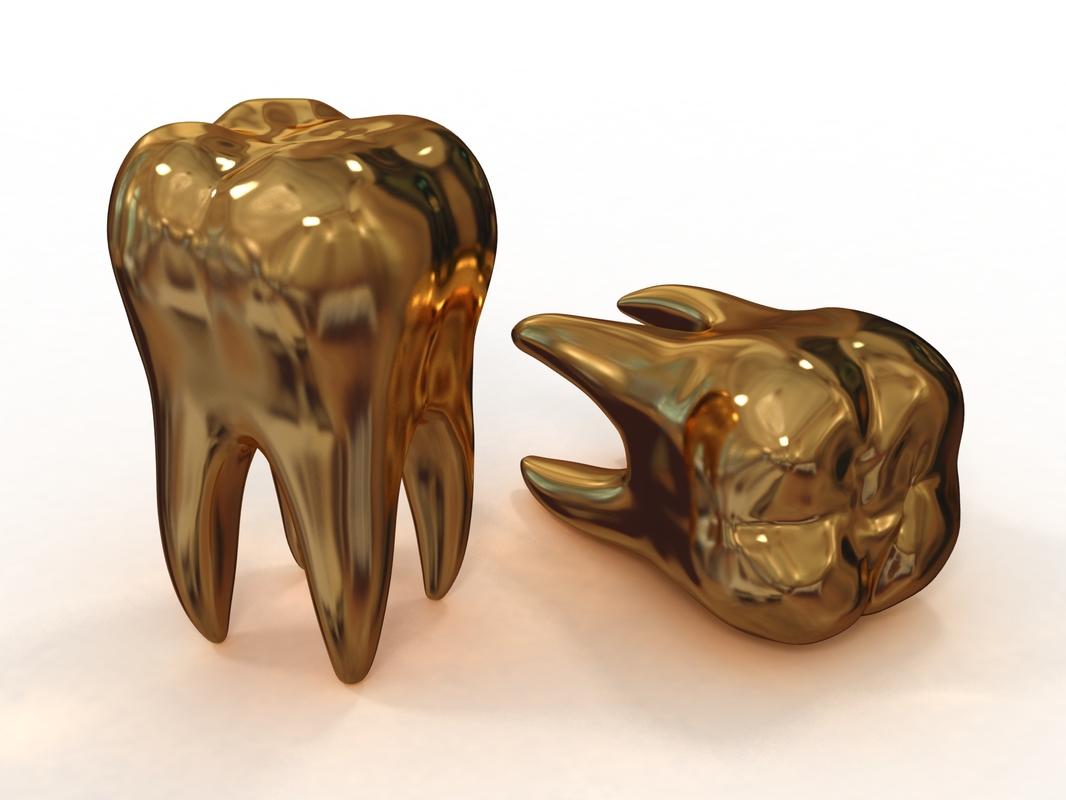 3D golden teeth