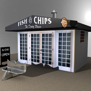 3D fish n chips shop model
