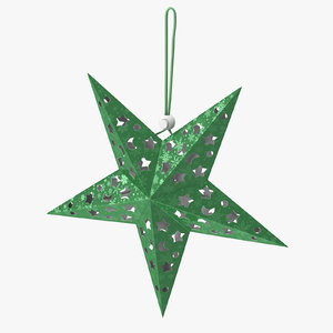3D star ornament green