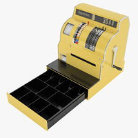 retro cash register 3D model