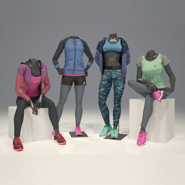 3D woman mannequin nike pack 3