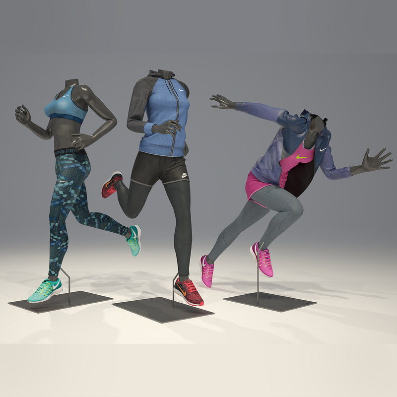 3D woman mannequin nike pack model