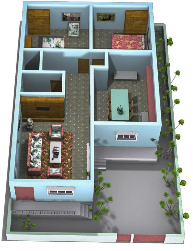 3D architecture scene houses