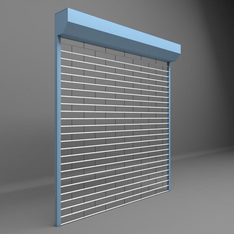 3D opened shutter garages shops