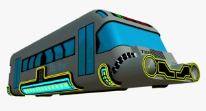3D sci-fi hover bus