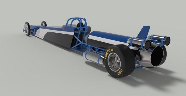 jet car dragster drag 3D