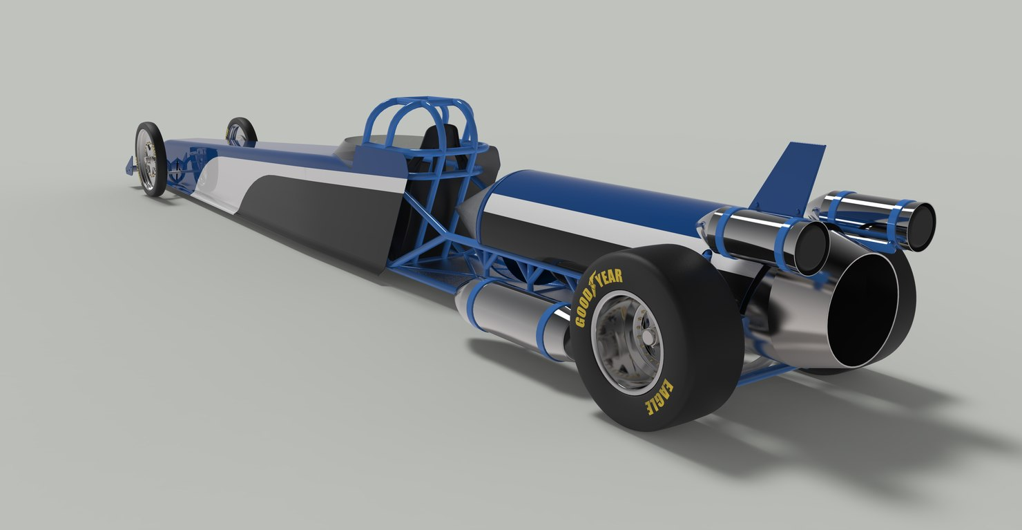 jet car dragster drag 3D