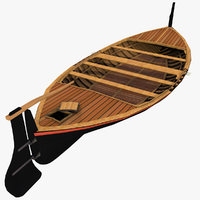 old wooden row boat 3D model