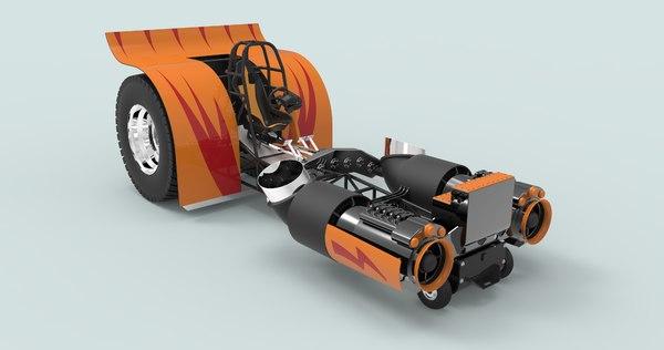 3D model truck tractor pulling
