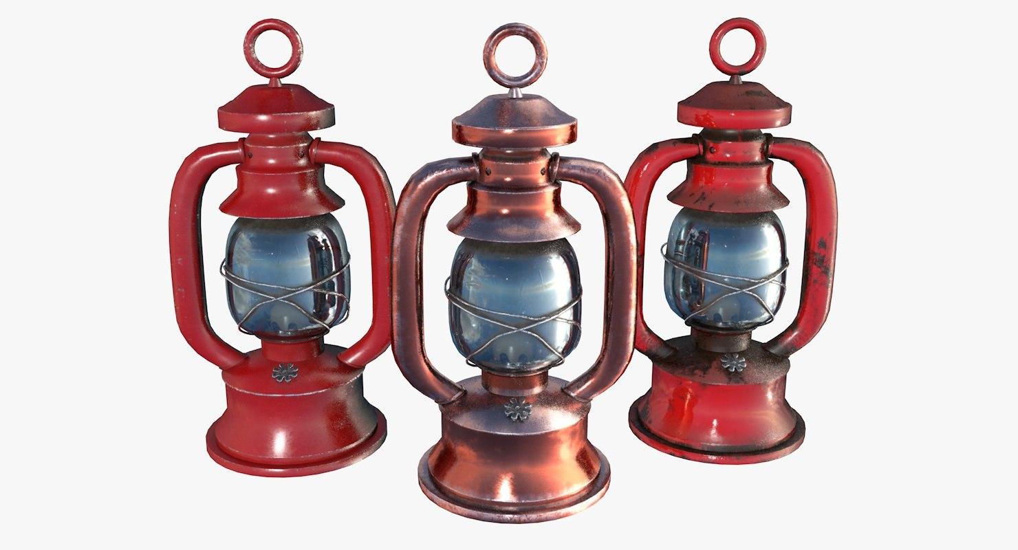 vintage gas lamps 3D