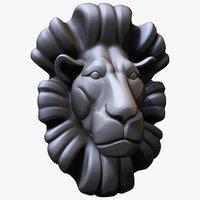3D lion bust