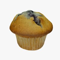 3D photo-realistic blueberry muffin