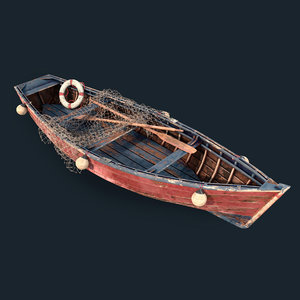 3D old fishing boat model