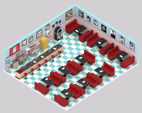 50 diner 3D model