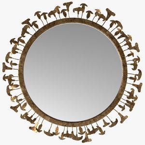 3D model metal mushrooms mirror -