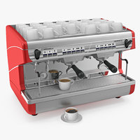 3D espresso machine coffee cups