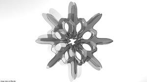 3D model snow snowflake