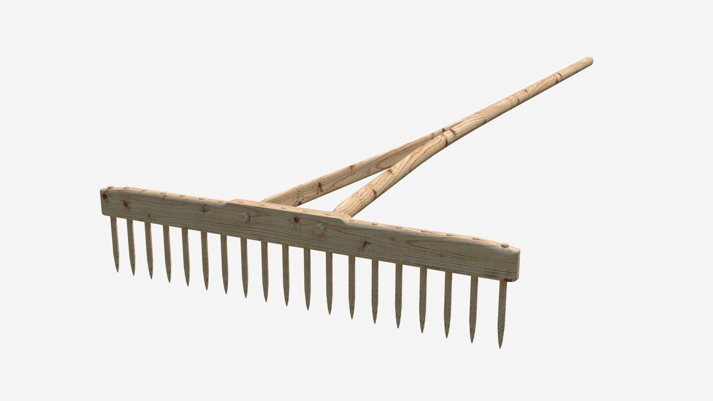 rake wooden 3D