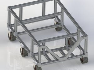 3D trolley assembly caster model