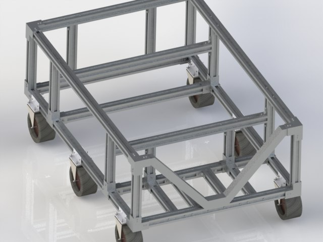 3D trolley assembly caster model