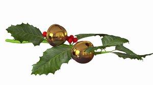 christmas branch jingle bells 3D model