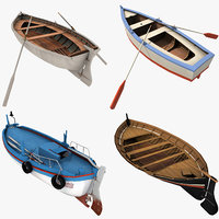 3D wooden row boats model