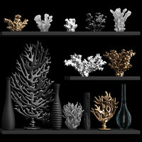 3D model decorative set corals vases