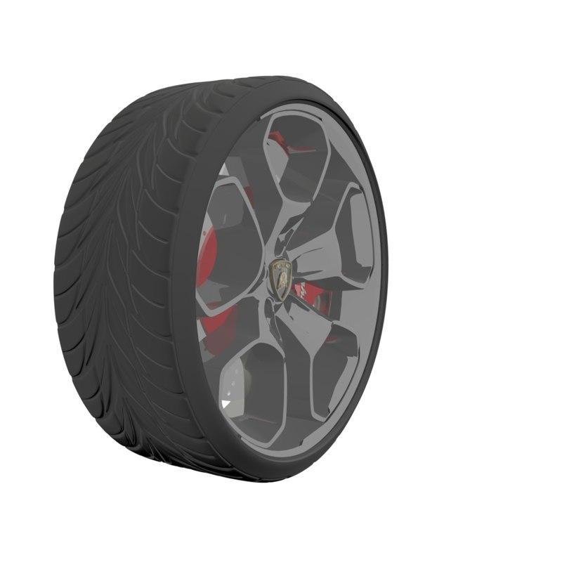 3D model wheel lamborghini car