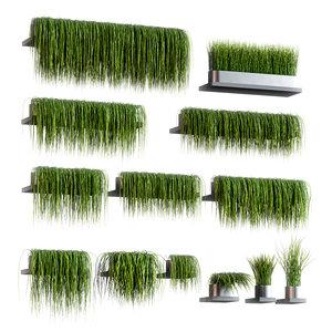 set 13 grass patterns 3D model