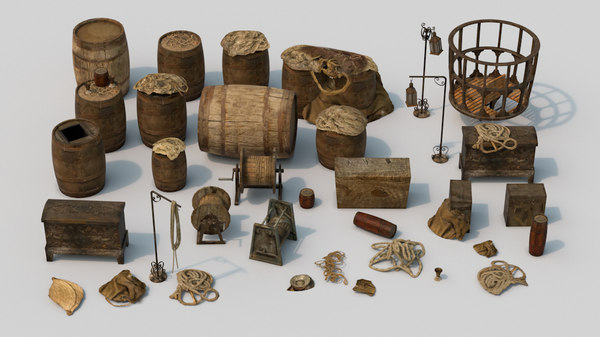 3D set old ship props