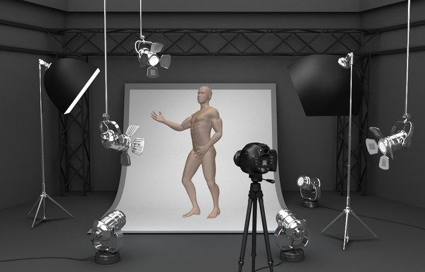 photo studio equipment background 3D model