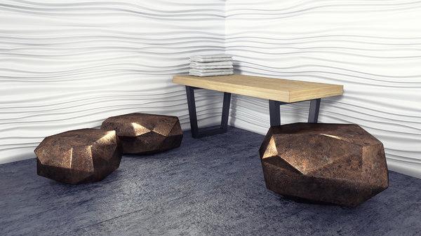 geometric seat set 3D