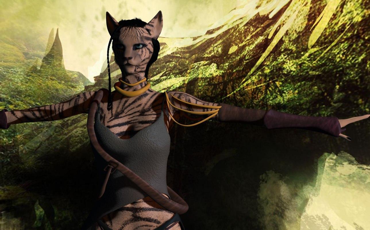 3D tiger woman