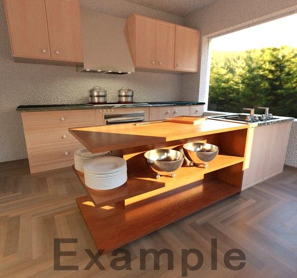 realistic kitchen architecture 3D model