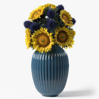 photorealistic sunflower eryngium bouquet 3D model