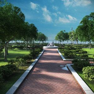 park trees vegetation 3D model