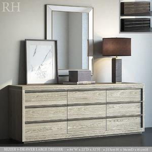 3D restoration bezier 9-drawer large model