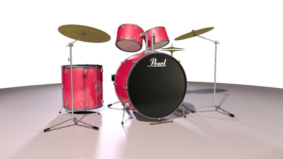 3D model acoustic drum sets