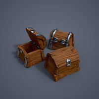 3D wooden chests