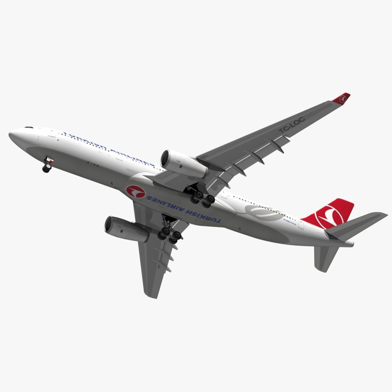 3D airbus turkish airlines a330 model