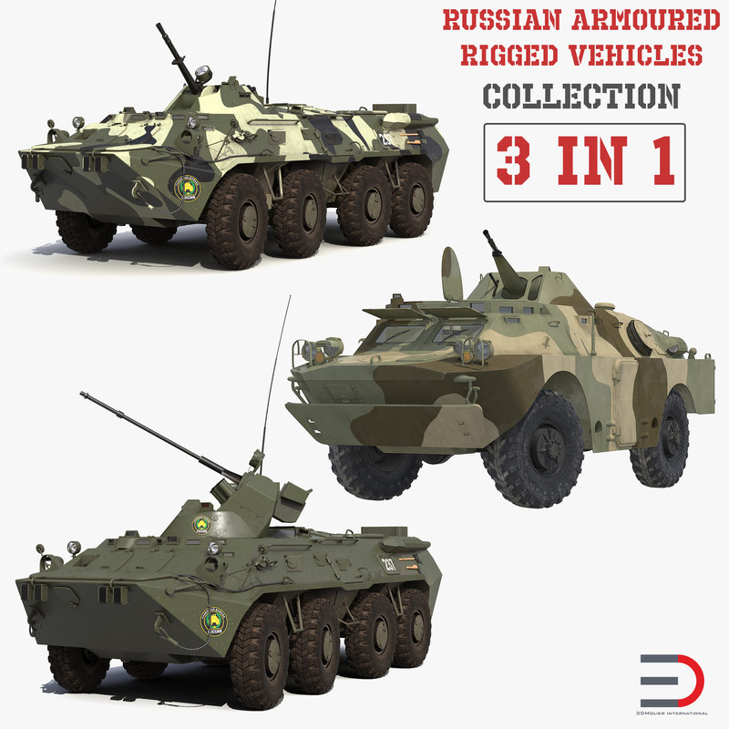 3D model russian armoured rigged vehicles
