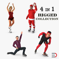 Winter Sport Rigged Characters 3D Models Collection