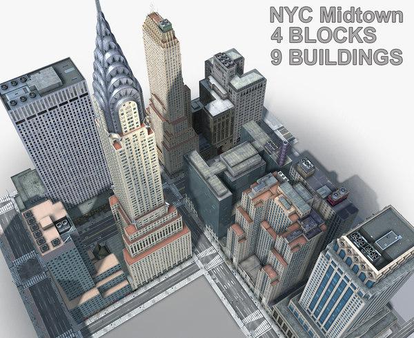 new york manhattan midtown 3D model