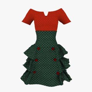 3D skirt blouse model