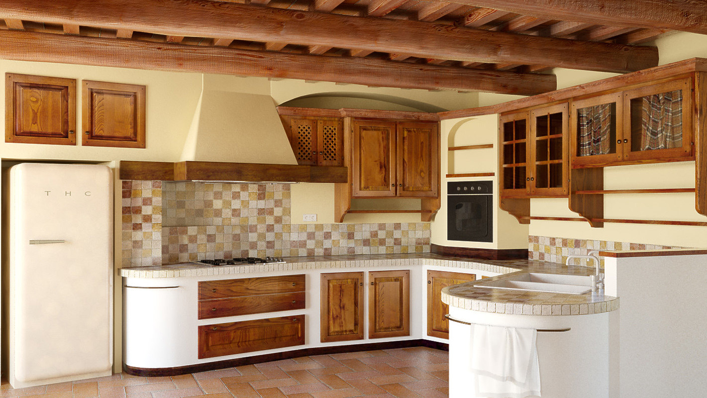 3D country kitchen traditional tuscan model