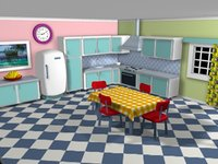 Cartoon detailed kitchen