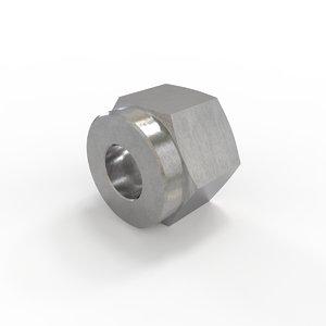 1 4 compression nut 3D model
