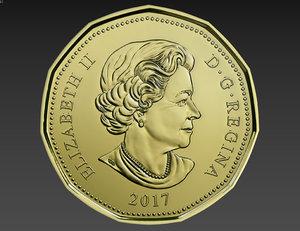 1 dollar canadian coin 3D